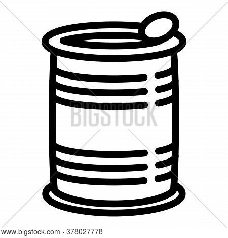 Steel Tin Can Icon. Outline Steel Tin Can Vector Icon For Web Design Isolated On White Background