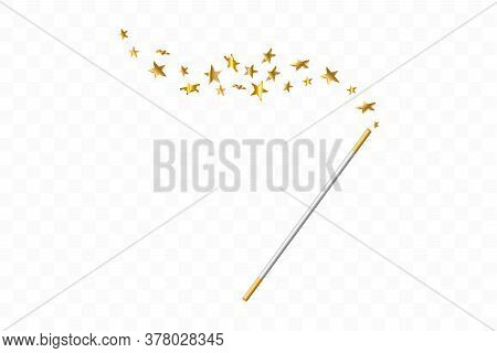 Magic Wand With 3d Stars On Transparent Background. Trace Of Gold Dust. Magic Abstract Background Is