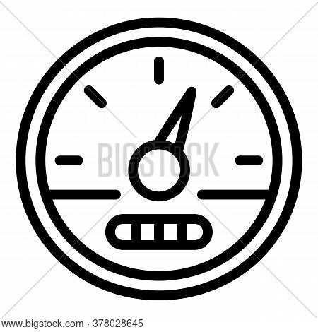 Speedometer Indicator Icon. Outline Speedometer Indicator Vector Icon For Web Design Isolated On Whi