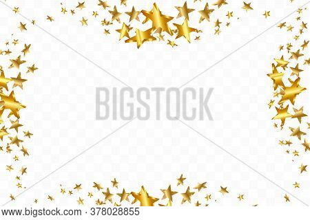 3d Star Falling. Gold Yellow Starry On Transparent Background. Vector Confetti Star Background. Gold