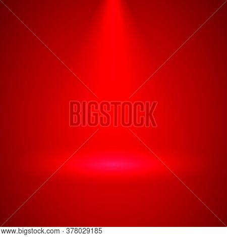 Spotlight Illuminates Red Interior Downwards. Transparent Stage Spotlight Illumination Background.