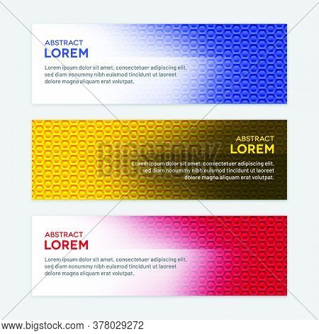 Colorful Gradient Backgrounds With Perforated Hexagonal Patterns. Horizontal Honeycomb Banner Set.