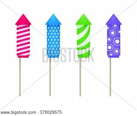 Colorful Firework Rockets With Various Textures On White Background. Vector Fireworks Icon Set.