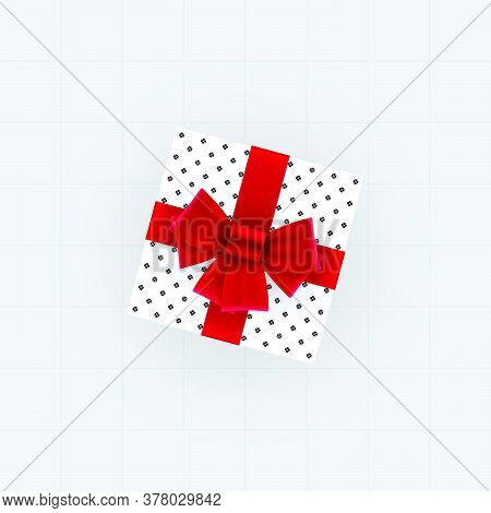 Top View Of Gift Box With Red Bow And Ribbons. Spotted Gift Box Vector Template.