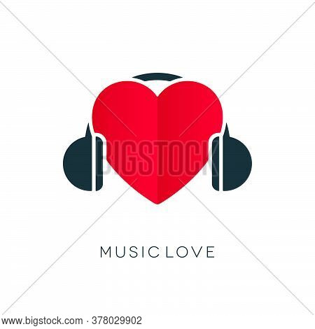 Headphones Icon With Heart Book Shape On White Background. Love Themed Musical Concept.