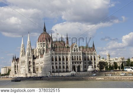 Parliament Building In Budapest, Hungary, Sunny Day