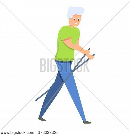 Senior Man Nordic Walking Icon. Cartoon Of Senior Man Nordic Walking Vector Icon For Web Design Isol