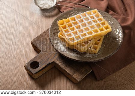 Plate With Delicious Belgian Waffles. Fresh Waffles