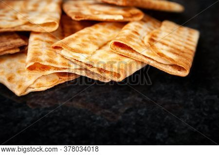 Hot Crispy Biscuits Stacked On Black Marble. Freshly Baked Cookies. Selective Soft Focus With Copy S