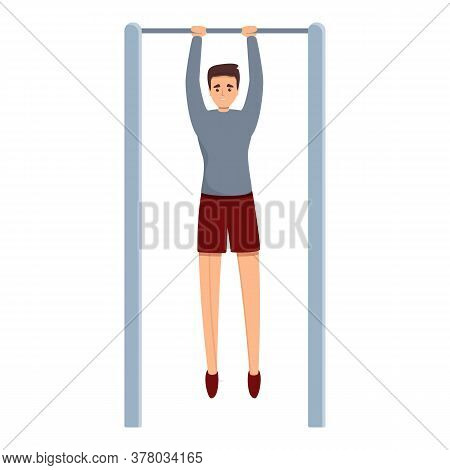 Sportsman On Fix Bar Icon. Cartoon Of Sportsman On Fix Bar Vector Icon For Web Design Isolated On Wh