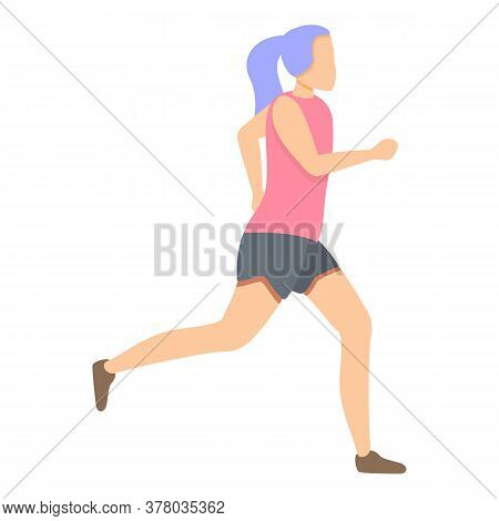 Girl Running In Shorts Icon. Cartoon Of Girl Running In Shorts Vector Icon For Web Design Isolated O