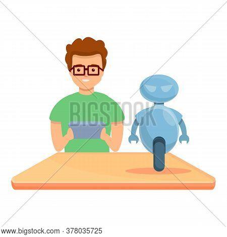 Boy Create Programming Robot Icon. Cartoon Of Boy Create Programming Robot Vector Icon For Web Desig