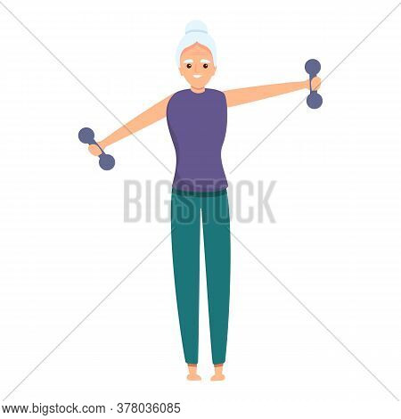 Senior Woman With Dumbbells Icon. Cartoon Of Senior Woman With Dumbbells Vector Icon For Web Design