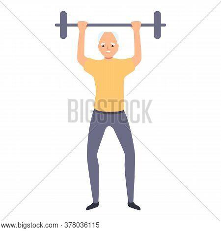 Senior Man Lift Barbell Icon. Cartoon Of Senior Man Lift Barbell Vector Icon For Web Design Isolated
