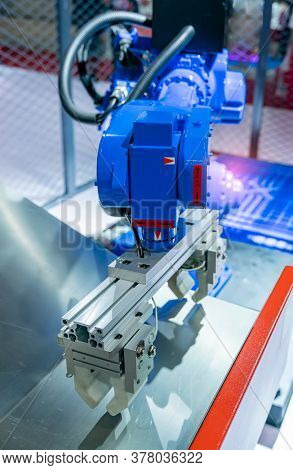 automatic machine tool roboti arm in industrial manufacture factory,Smart factory industry 4.0 concept.