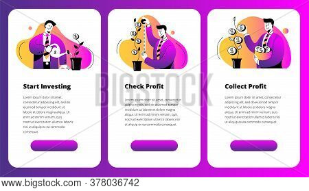 A Set Of Images On The Topic Of Investing. Mobile Phone Screens With The Image Of A Businessman. A S