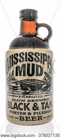 Winneconne,  Wi - 24 July 2020: A Bottle Of Mississippi Mud Famous Slow Brewed Black And Tan Porter