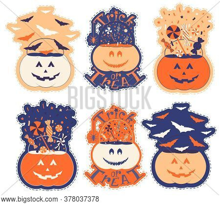 Nice Pumpkin Set For Halloween. Sticker Pack With Pumpkin Trick Or Treat Bucket Filling With Sweets