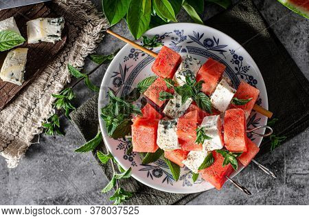 Delicious Spicy Skewers With Watermelon