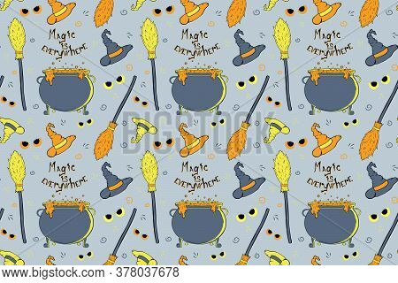 Witchs Equipment Seamless Pattern. Vector Halloween Illustration With Witchs Hat, Cauldron, Broom An