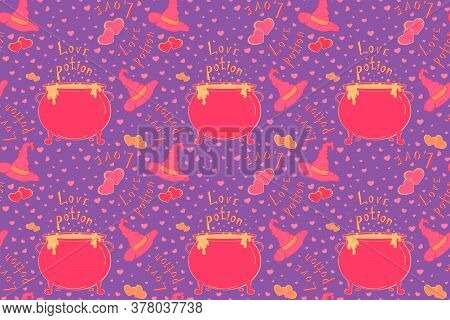 Nice Love Potion Seamless Pattern . Cute Halloween Or Valentines Day Illustration With Witch Hat And