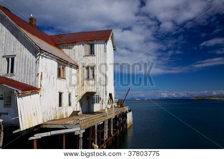 Old abandoned fishing port on Lofoten islands in Norway poster
