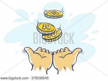 Cashback Concept. Human hands katching 10 cents coins of very small amount of money. Gold Coin shining currency symbol. Best offer and super sale price creative concept. Illustration.
