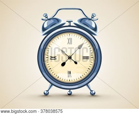 Classic Alarm clock with analog dial and bell Time for waking up in morning. Times symbol. Illustration.