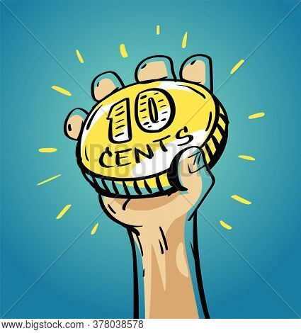 Human hand holding 10 cents coin of very small amount of money. Gold Coin shining currency symbol. Best offer and super sale price creative concept. Illustration.
