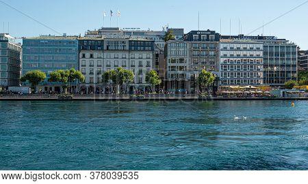 City Of Geneva And Lake Geneva In Switzerland - City Of Geneva, Switzerland - July 8, 2020
