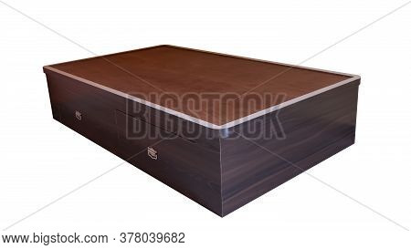 A Wooden Divan With Storage Drawer Brown Color Furniture Isolated On White Background