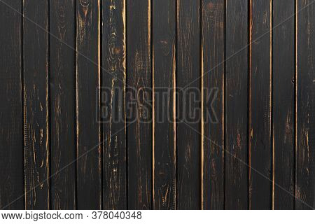 Shabby Dark Wooden Table Surface. Black Wood Background Or Texture