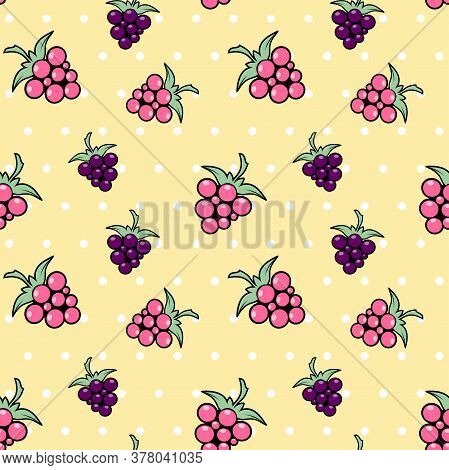 Pink And Purple Berries On A Yellow Background With White Polka Dots. Raspberries, Dewberry, Blackbe