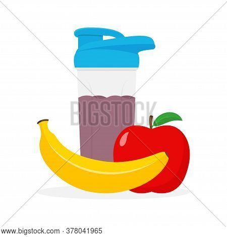 Whey Protein, Shaker, Banana And Apple Fruits. Sports Nutrition Concept. Vector Illustration