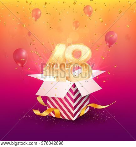 48th Years Anniversary Vector Design Element. Isolated Forty-eight Years Jubilee With Gift Box, Ball