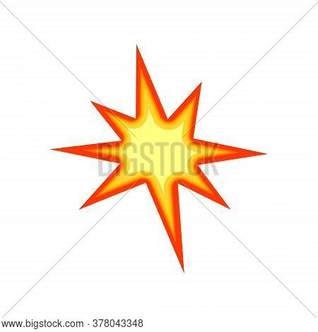 Boom Fire Icon Isolated On White. Yellow Bursting Vector Illustration.
