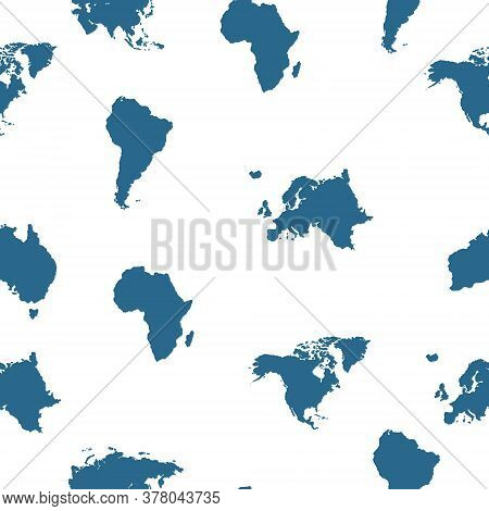 World Map Seamless Pattern Background. Background With All Continents Isolated On White.