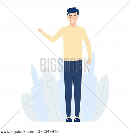 Welcoming Boy Vector Illustration Isolated On White. Man Presenting Something. Happy Young Man Point