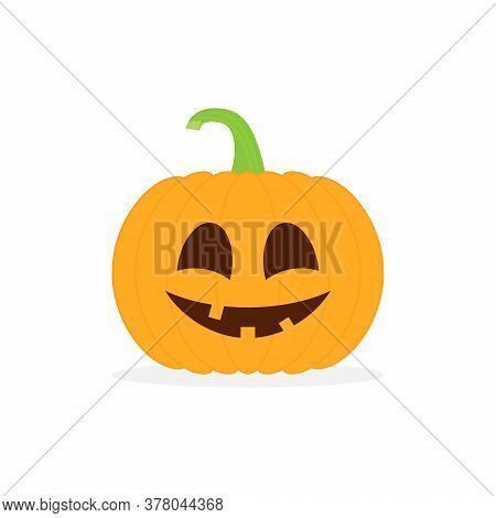 Halloween Pumpkin Character Vector. Happy Cute Pumpkin Vegetable For Autumn October Party Illustrati