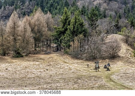 Hiking Path In Stiavnica Mountains, Slovak Republic. Seasonal Natural Scene. Travel Destination.