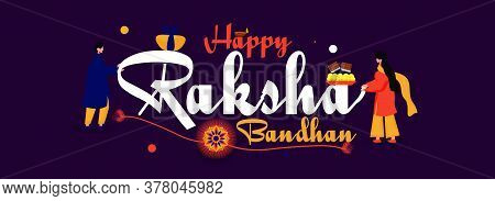 Social Media Banner For Happy Raksha Bandhan. Brother And Sister's Love Special Bond With Sweets And