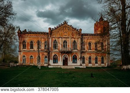 Old Abandoned Ruined Mansion In Gothic Style