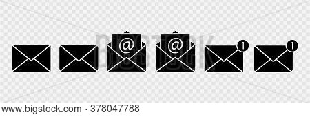 Envelope Set Vector Icon. Document Enclosed In An Envelope.