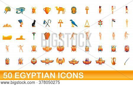 50 Egyptian Icons Set. Cartoon Illustration Of 50 Egyptian Icons Vector Set Isolated On White Backgr