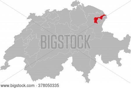 Appenzell Ausserrhoden Canton Isolated On Switzerland Map. Gray Background. Backgrounds And Wallpape