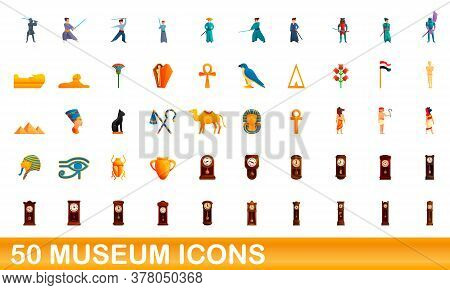 50 Museum Icons Set. Cartoon Illustration Of 50 Museum Icons Vector Set Isolated On White Background