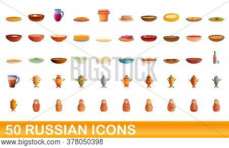 50 Russian Icons Set. Cartoon Illustration Of 50 Russian Icons Vector Set Isolated On White Backgrou