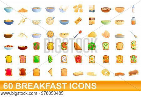 60 Breakfast Icons Set. Cartoon Illustration Of 60 Breakfast Icons Vector Set Isolated On White Back