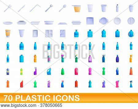 70 Plastic Icons Set. Cartoon Illustration Of 70 Plastic Icons Vector Set Isolated On White Backgrou