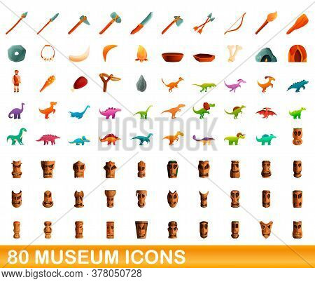 80 Museum Icons Set. Cartoon Illustration Of 80 Museum Icons Vector Set Isolated On White Background